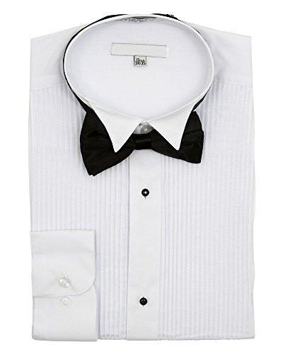 Men 39 S Wingtip Collar Pleated Tuxedo Shirt Bow Tie White