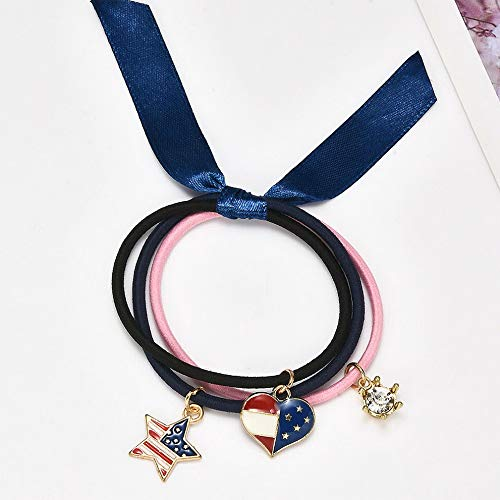 Campton Women Charm Elastic Hair Ties Band Ropes Ring Ponytail Holder Hair Accessories | Model RNG - 11079 | (Shotgun Belly Button)