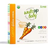8x Organic Carrot Quinoa Infant & Baby Cereal Travel Packs w/Naturally Occurring Omega 3, 6, 9 Protein, Iron, Magnesium, B2. Easiest First Foods to Digest. By WutsupBaby – 4oz (8 pack x 0.5oz)