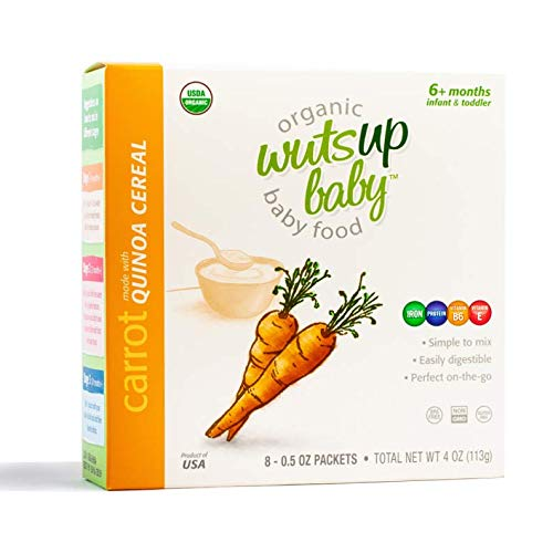(8x Organic Carrot Quinoa Infant & Baby Cereal Travel Packs w/Naturally Occurring Omega 3, 6, 9 Protein, Iron, Magnesium, B2. Easiest First Foods to Digest. By WutsupBaby - 4oz (8 pack x 0.5oz))