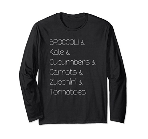 Unisex Broccoli Kale Cucumbers Carrots Tomatoes Long Sleeve T-Shirt Large Black