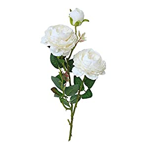 MaxFox 3 Head Floral Artificial Western Rose Flower,Fake Peony Bouquet Centerpieces for Wedding Bridal Home Decor (White) 86