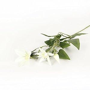 Li Hua Cat FrenchHigh-endViolet/WhiteClematisartificialflower/flowerarrangementfortable,desk,room,shop,photography,wedding,DIY,etc (White) 2