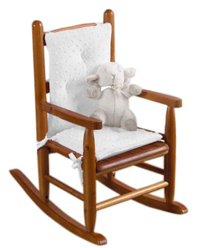 (Baby Doll Bedding Heavenly Soft CHILD Rocking Chair Cushion Pad Set, White (Chair is not included with the product))