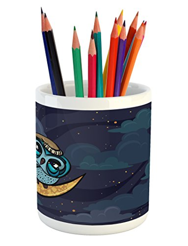 Lunarable Owl Pencil Pen Holder, Sleepy Bird Perching on Crescent Moon in a Cloudy Night Cartoon Style Illustration, Printed Ceramic Pencil Pen Holder for Desk Office Accessory, Multicolor