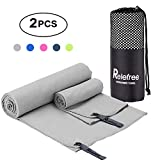Microfiber Towel, 2 Pack Travel and Sports Towel, Quick Drying, Lightweight, Ultra Absorbent, Compact for Fitness, Camping, Swimming, Backpacking, Beach, Yoga, Pilates, Gym, Bath, Shower