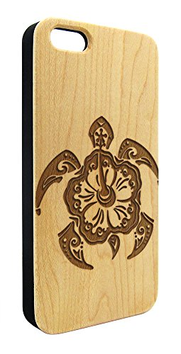 Genuine Maple Wood Organic Tribal Sea Turtle Flower Snap-On Cover Hard Case for iPhone 6 Plus
