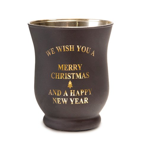 Darice Votive Candle Holder - We Wish You a Merry Christmas and a Happy New Year, Glass, Frosty Black with Gold Writing