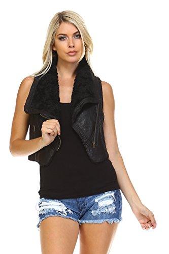 トラフ精査精通したMarcelle Margaux Womens Faux Fur Lined Moto Vest