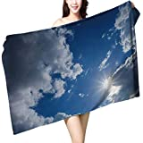 UHOO2018 Bath Towel Clear Weather Sky Sun on Blue Sky with Clouds Solar of cleanenergy Power Bathroom Towels W 31.5'' x L 63''
