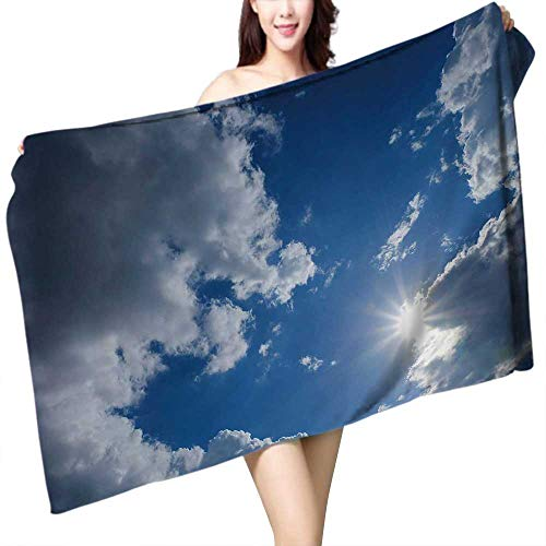 UHOO2018 Bath Towel Clear Weather Sky Sun on Blue Sky with Clouds Solar of cleanenergy Power Bathroom Towels W 31.5'' x L 63'' by UHOO2018