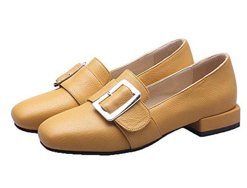 Amoonyfashion Kvinnor Pull-on Pu Square-toe Låga Klackar Fasta Pumpar-shoes Gula