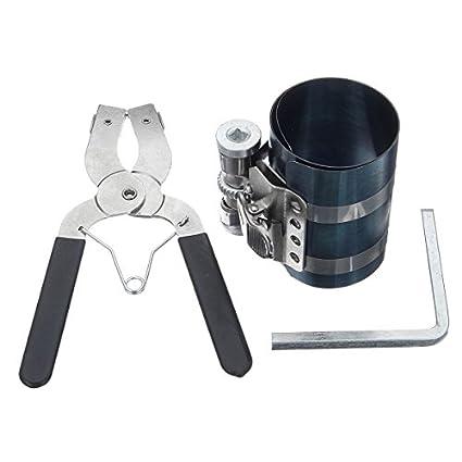 KUNSE Anillo De Pistón Pinzas Alicates Compresor Instalador Alicates De Trinquete Desmontador Expansor Herramienta del Motor