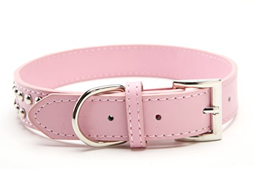 Buy dog leather collar pink
