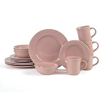 Pfaltzgraff 16 Piece Filigree Dinnerware Set Stoneware Round, Pale Pink Glaze