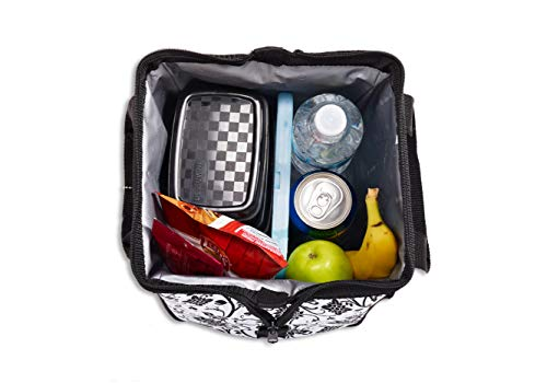 Fit & Fresh Women's Downtown Insulated Lunch Bag with Zipper Closure and Exterior Pocket, Stylish Adult Lunch Box for Work, Ebony Floral by Fit & Fresh (Image #5)