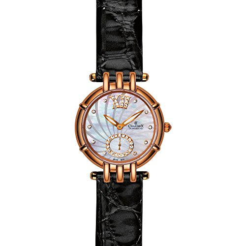 Charmex Pisa 6126 31mm Gold Plated Stainless Steel Case Black Calfskin Synthetic Sapphire Women's Watch