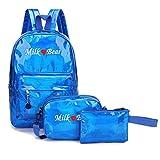 3Pcs Fashion Women Laser Student School Backpacks+Crossbody Bag+Clutch Bag,Outsta Fashion Backpack Satchel Shoulder Rucksack Daypack Multicolor (Blue)