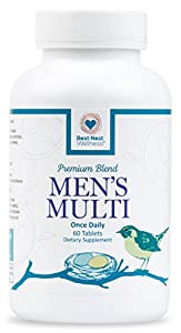 Best Nest Men's Multi Vitamins | Methylfolate, Methylcobalamin (B12), Multivitamins, Probiotics, Made with 100% Natural Whole Food Organic Blend, Once Daily Multivitamin, 60 Tablets