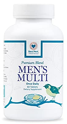 Best Nest Men's Multi Vitamins | Methylfolate, Methylcobalamin (B12), Whole Food Multivitamins, Probiotics, 100% Natural Organic Blend, Once Daily Multivitamin, 60 Tablets