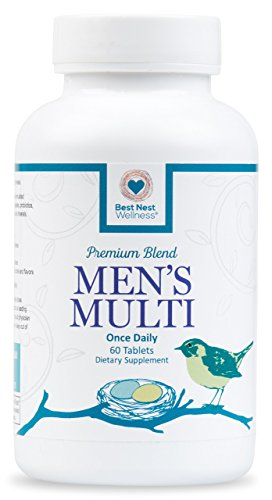 Best Nest Men's Multi Vitamins   Methylfolate, Methylcobalamin (B12), Multivitamins, Probiotics, Made with 100% Natural Whole Food Organic Blend, Once Daily Multivitamin, 60 Tablets