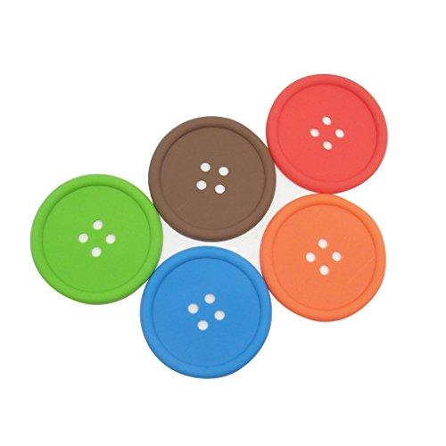 TrendBox 1 Set (5 Colors) Button Shape Heat Resistance PVC Silicone Drinks Coaster Cup Pads Flexible Washable For Kitchen Home Design Mats