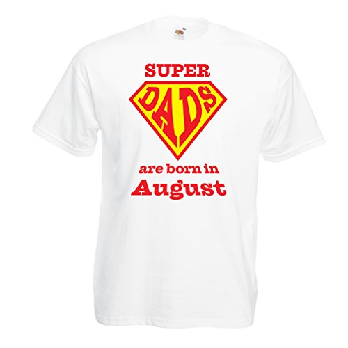 T Shirts For Men Super Hero Dads Are Born In August Birthday or Father Day Gifts (XX-Large White Multi Color)