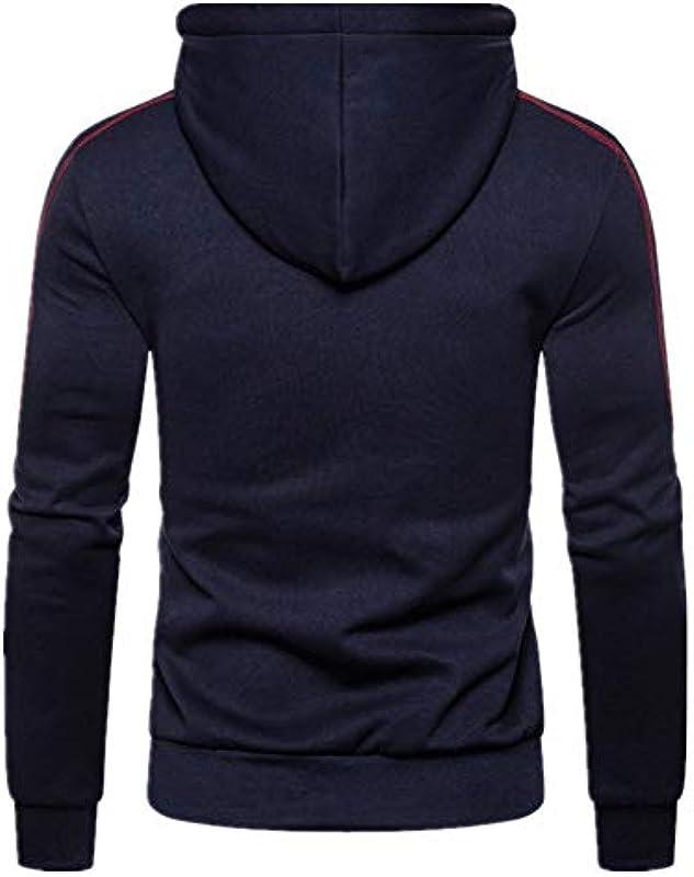 WLZQ Herbst Und Winter Farblich Passender Pullover Męskiemode Casual Slim Hooded Cardigan Sweater Jacket: Odzież
