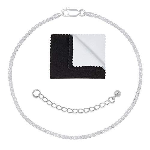 (1.9mm .925 Sterling Silver Adjustable Wheat Anklet or Bracelet, 9