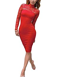Womens Vintage Clubwear Bodycon Party Lace Midi Dress