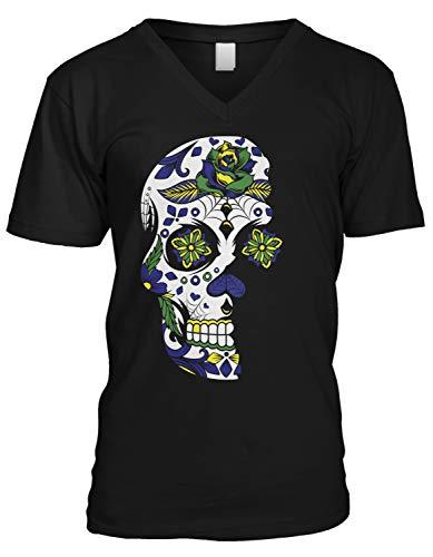 Amdesco Men's Day of The Dead, Dia De Muertos Sugar Skull V-Neck T-Shirt, Black -
