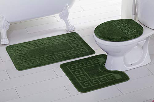 Fancy Linen 3pc Non-Slip Bath Mat Set with Chain Pattern Solid Olive Green Bathroom U-Shaped Contour Rug, Mat and Toilet Lid Cover New