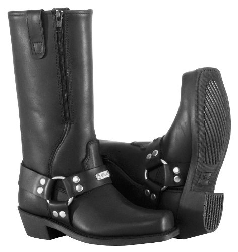 River Road Women's Square Toe Zipper Harness Boots - 9.5/Black