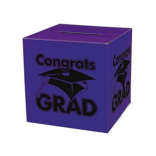 Fun Express - Congrats Grad Purple Card Box for Graduation - Party Supplies - Containers & Boxes - Paper Boxes - Graduation - 1 Piece -