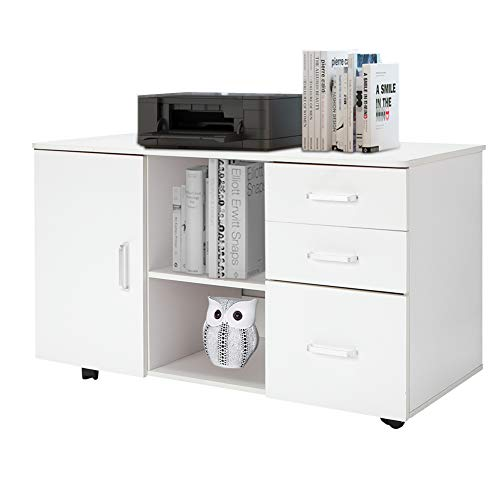 Mobile File Cabinet, Modern Lateral Filing Cabinets Printer Stand with 3 Drawers, 2 Open Shelf and 1 Door Storage for Office Home Bedroom Study ()