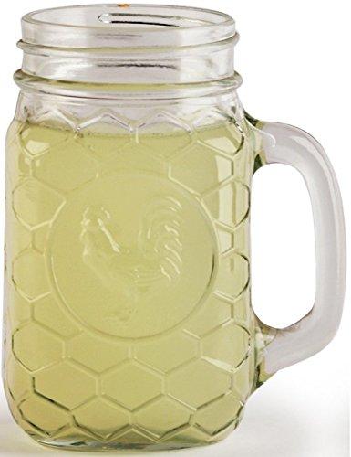 Circleware Rooster Glass Mason Jar Mugs, Set of 4, 17.5 oz., Clear by Circleware