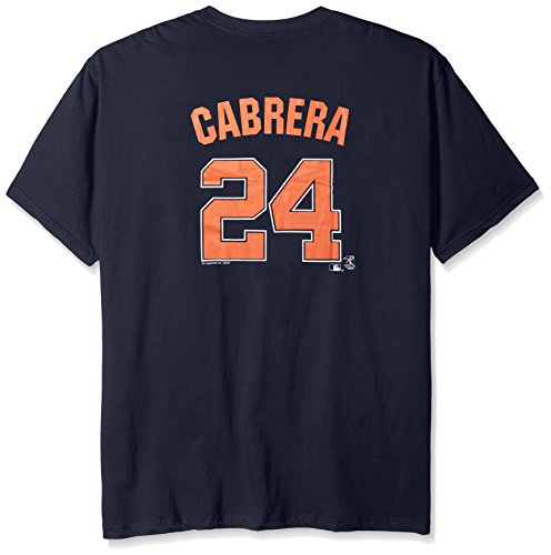 MLB Detroit Tigers Cabrera #24 Men's Short Sleeved Two Sided High Density Name Number Tee, 3X, Navy – DiZiSports Store