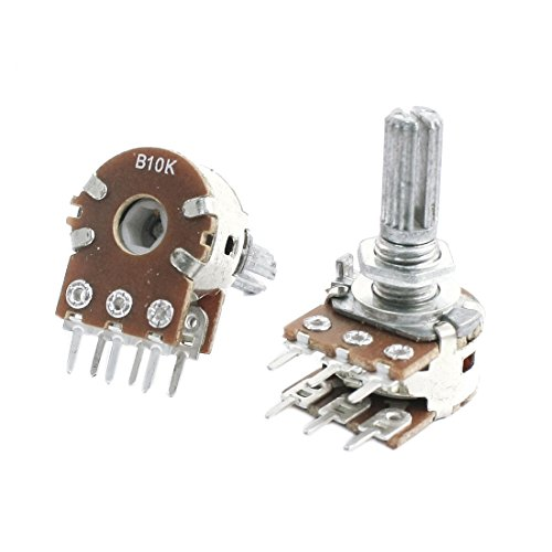 Uxcell 2Pcs B10K 10K Ohm 13 mm Shaft PCB Mounted Linear Dual ()