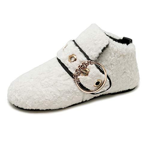 Blanco Terciopelo Plana Mujer Parte Y Sijux Hebilla Metal Zapatos De Para Inferior Con UwEPax7Hq