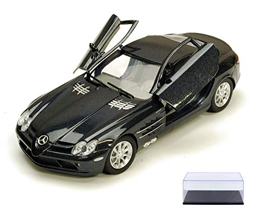 Diecast Car & Display Case Package - Mercedes Benz SLR McLaren, Black - Motormax 73306 - 1/24 Scale Diecast Model Toy Car w/Display Case