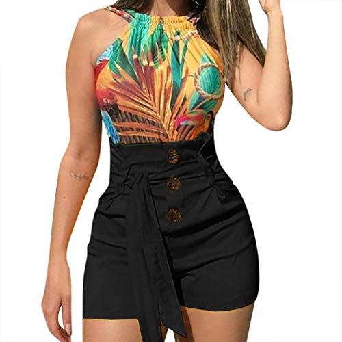 Kaicran Women's High Waist Elegant Shorts Solid Color Bowknot Tie Casual Button Short Pants Plush Size (S, Black)