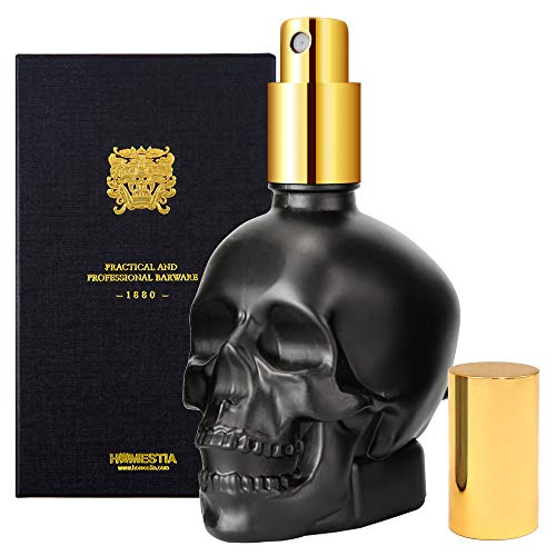 Homestia Martini Vermouth Sprayer Skull Glass Spray Bottle Spray Bottle Gold Plated 2oz for Father's Day
