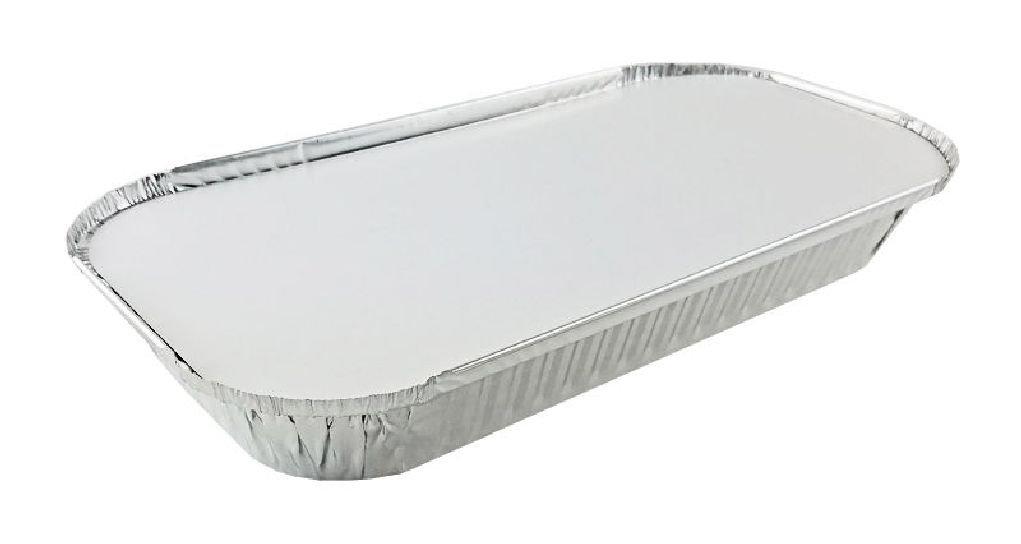 3 lb. Oblong Aluminum Entrée Take-Out Pan Trays w/Board Lid 250 Sets
