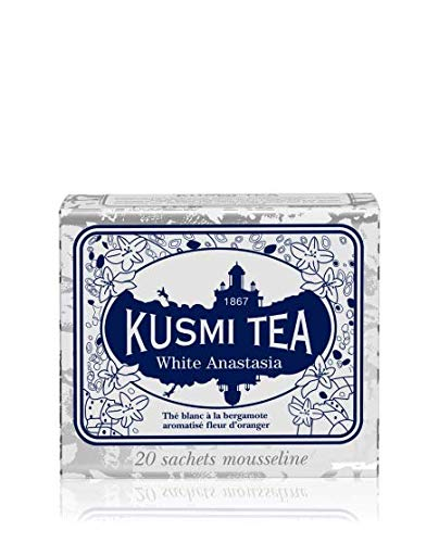 Kusmi Tea - White Anastasia - White Tea Blend with Citrus, Bergamot & Lemon - All Natural Loose Leaf Green and White Tea Blend with No Additives in 20 Eco-Friendly Muslin Tea Bags (20 Servings) (White Tea Citrus)