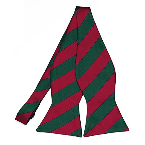 TieMart Crimson Red and Hunter Green Striped Self-Tie Bow Tie