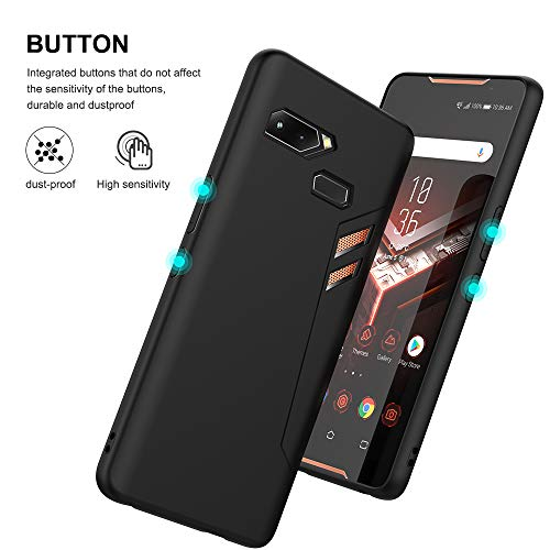 Feitenn ASUS ROG Phone Case, Soft Flexible TPU Game Case Cover Slim Thin Lightweight Bumper Shockproof Anti-Scratch Protective ROG Phone Skin Shell for Asus Rog Phone ZS600KL 6.0 inch (Black)