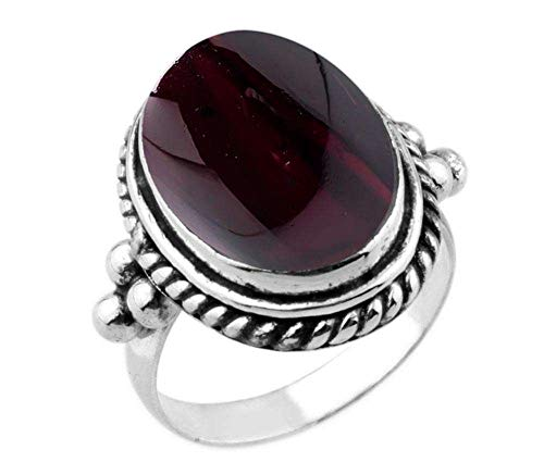 8.90ctw,Genuine Garnet Cab 12x16mm Oval & .925 Silver Plated Handmade Ring (Size-11)