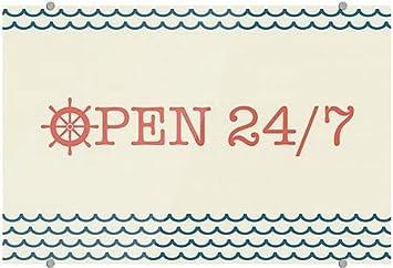 Open 24//7 Nautical Wave Premium Brushed Aluminum Sign 36x24 CGSignLab