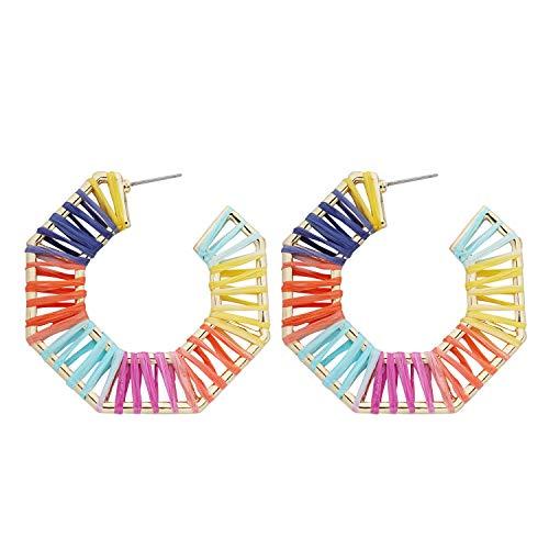 Hoop Earrings for Women - Geometric Handmade Raffia Hoop Colorful Statement Dangle Earrings Set Gift. ()