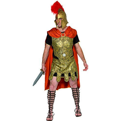 Smiffy's Men's Roman Soldier Tunic Costume, Cape, Tunic and Armour, Breastplate and Skirt, Legends, Serious Fun, Size M, 20375